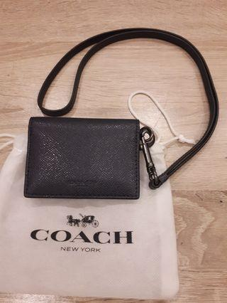 Coach leather ID and credit card lanyard