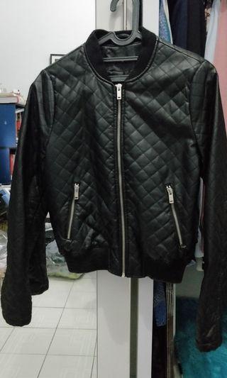 Bomber Leather Jacket Stradivarius size S