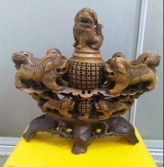 【五狮踩球】早期壽山石雕