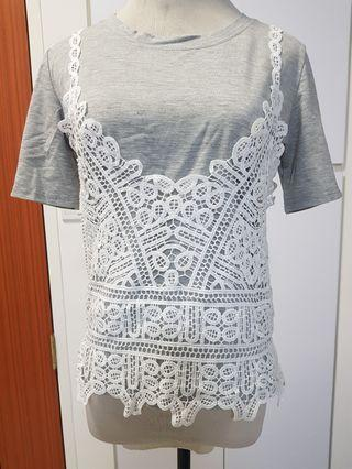 BN grey lace tee set