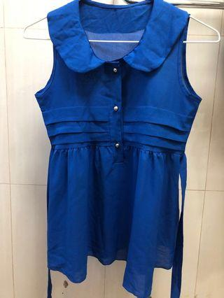 Bright blue collared baby doll top