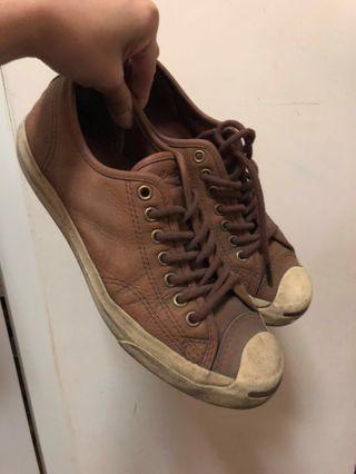Converse 駝色皮革開口笑帆布鞋