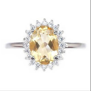 NATURAL OVAL YELLOW CITRINE PLATED WHITE GOLD 925 STERLING PERAK ASLI IMPORT RINGS ASIA SZ 15 & 16