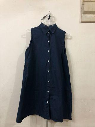 Navy button skirt dress
