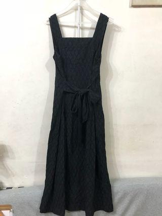 Black broderie dress with tie