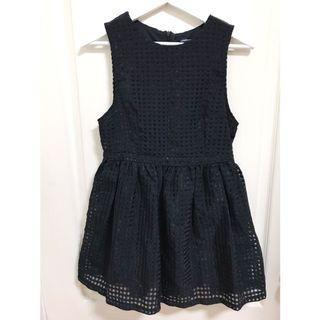 黑色 格紋 洋裝 (二手)