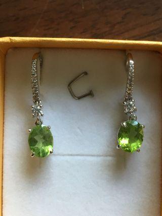 濃色橄欖石純銀耳環 Silver Peridot Earrings