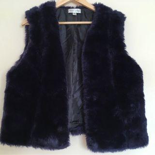 BELLA LOREN blue faux fur vest Size 16
