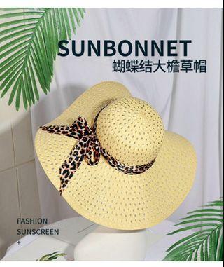大檐草帽:女裝豹紋加蝴蝶結~可折叠又遮陽光的沙灘防曬太陽帽