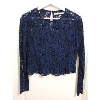 ZARA 深藍色 蕾絲 長袖 上衣 (二手)