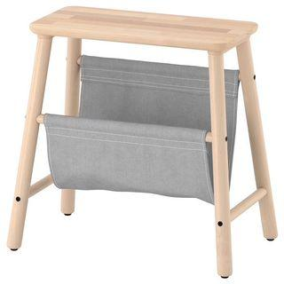 Scandinavian storage stool, birch, 45 cm