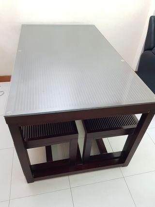 Dining Table with Glass Top and x2 Long Bench