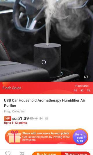 USB Car Household Aromatherapy Humidifier Air Purifier