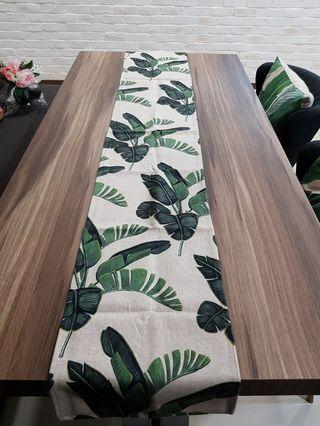 Beautiful Quality Linen cotton greenleaves table runner