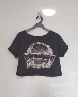 Black Graphic Crop Top