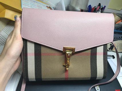 Authentic Burberry Small Leather House Check Crossbody Bag- Pale Orchid