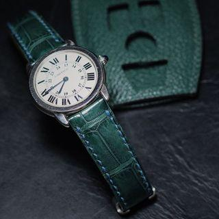 handmade handstitched watch strap in hunter green squared alligator for clients cartier Watch