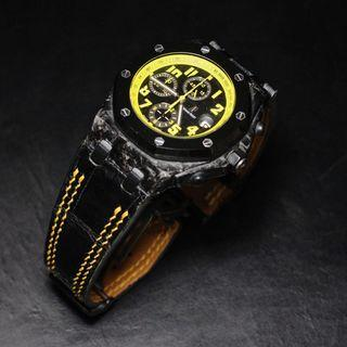 Handmade handstitched watch strap in black squared USA alligator for clients AP watch