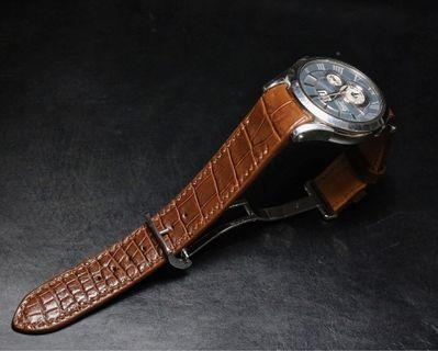 Handmade handstitched watch strap in honey brown squared USA alligator for clients seiko watch