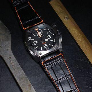 🚚 Handmade handstitched watch strap in squared USA alligator for clients bell&Ross BR-02 watch