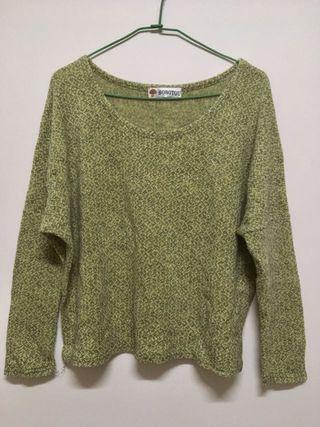 🚚 綠色混色寬鬆短版針織長袖上衣