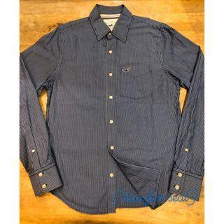 Hollister深藍白條紋襯衫 二手古著 [Blue fur seal]