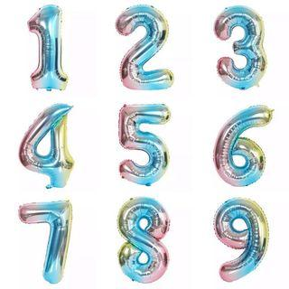 🚚 32-inch Colourful Numbers Foil Balloons