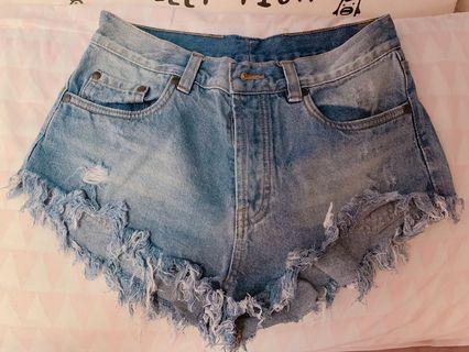 Factorie denim frayed shorts