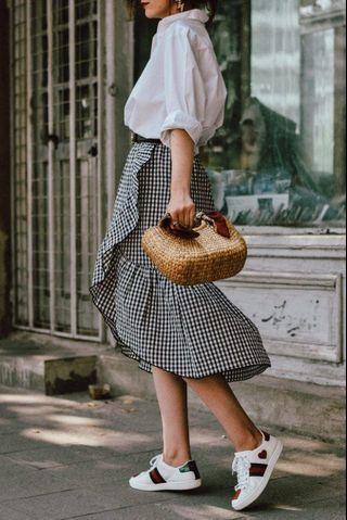 Mango checkered skirt #GayaRaya