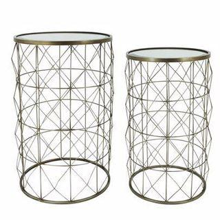 🚚 Set of 2 Champagne Silver Mirrored top Side Tables