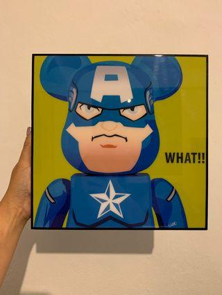 Be@rbrick Captain America Inspired Plaque Poster