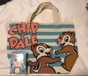 [日本限時代購] Disney 迪士尼 Chip n Dale  手挽袋 飯袋 零食袋