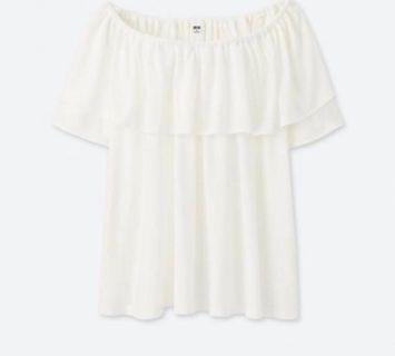 🚚 Short Sleeve Ruffle Off Shoulder Top White