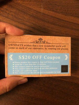 owndays voucher $20