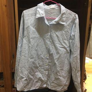 淺藍直條紋棉麻襯衫