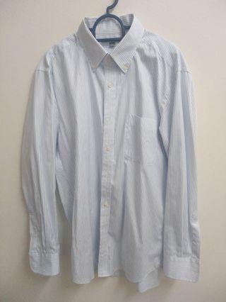 Uniqlo white stripe shirt (L) #MGAG101