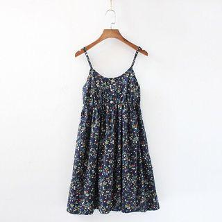 🚚 Free mailing! Navy Blue Strawberry Print Summer floral Dress
