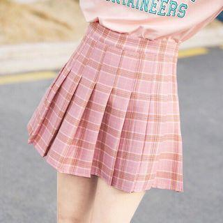 🚚 粉紅格子百褶裙