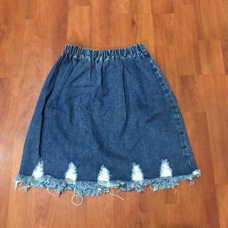Denim Skirt Frayed