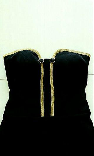 Custom Design Black Fitted Midi Dress with Gold Coloured Trim