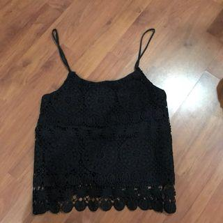 Factorie Black Crochet Spag Top