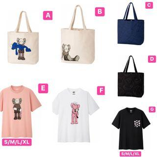 Uniqlo x kaws tee black 黑藍toe bag 粉紅pink tee pocket tee