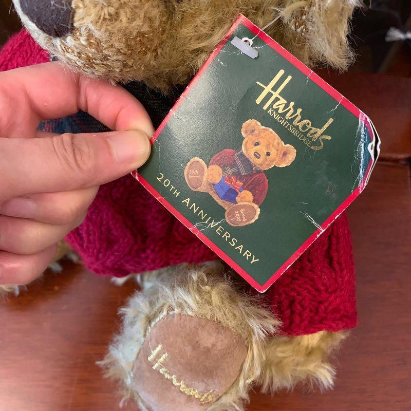 $50 英國限定20周年 30cm Harrods Teddy Bear 愛心熊 line熊 brown 公仔 (sample sale )
