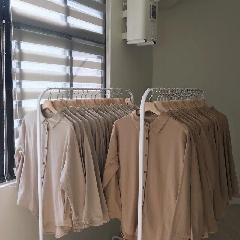 淺奶茶色系棉麻質感襯衫