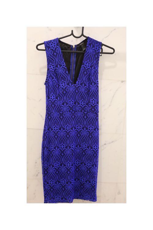 Forever 21 Dark Blue Low V Cut Lace Dress