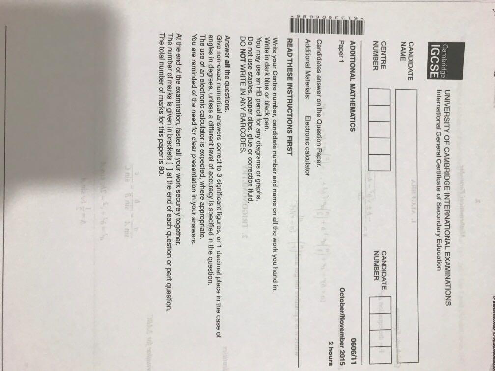 Cambridge IGCSE Additional Mathematics Paper 1 0606 Solved