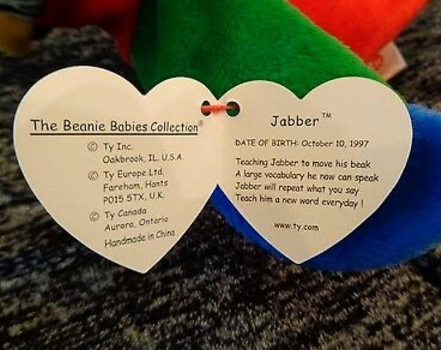 Antique/Vintage Jabber Beanie Baby Tag Errors See Photos