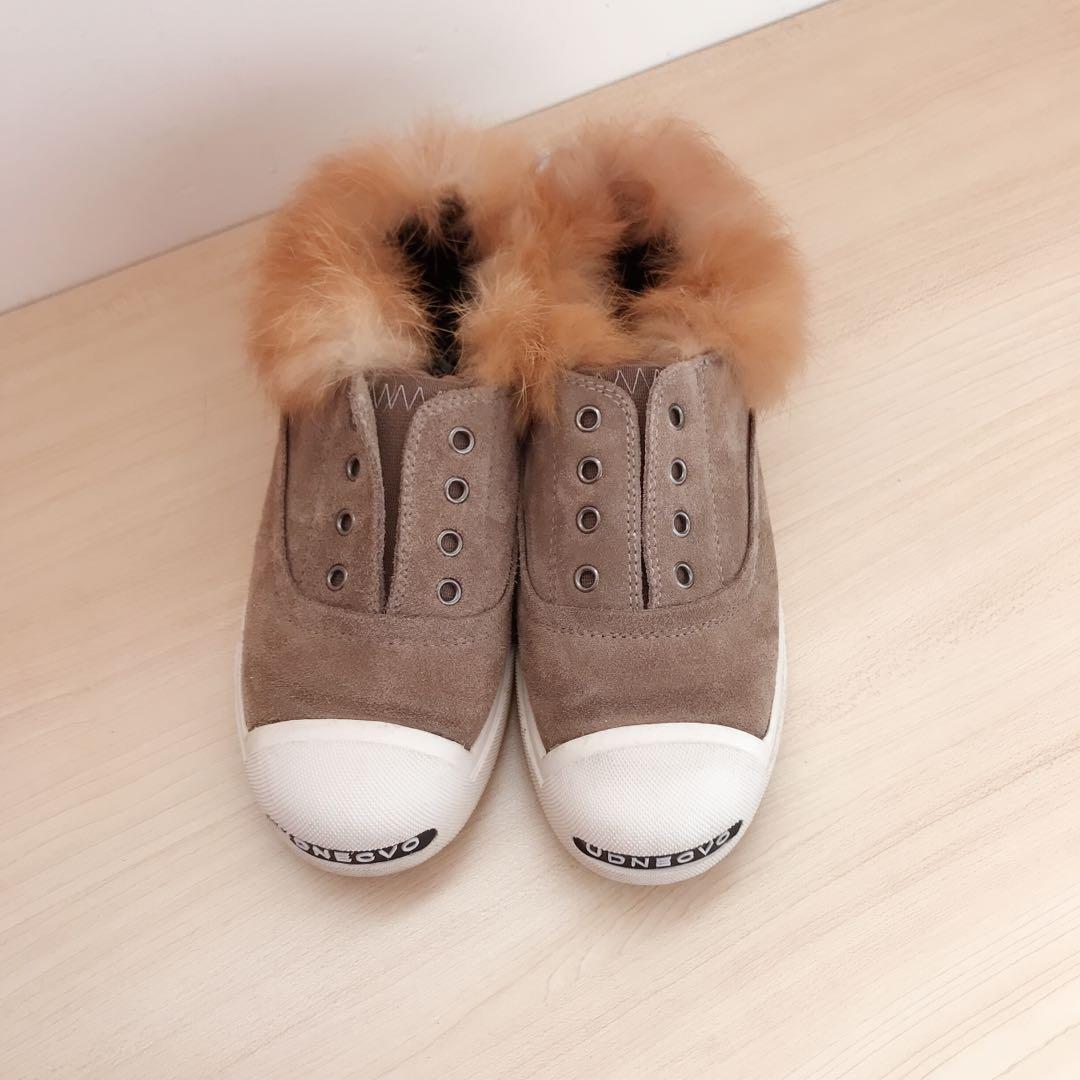 *as NEW* Girls fur leather fleece inner slip on size 2 Y