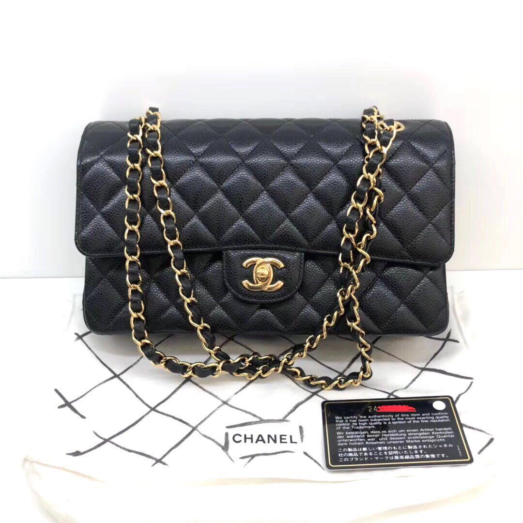 Authentic Brand New Chanel Medium Black Caviar Leather GHW Double Flap