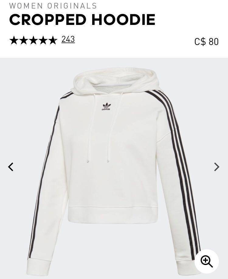 *BNWT!!!* ADIDAS THREE STRIPES CROPPED WHITE SWEATER